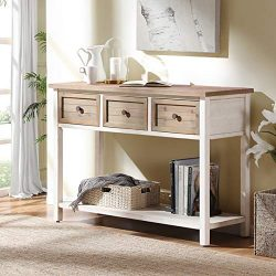 FurniChoi Rustic Sofa Table, Farmhouse Console Table for Living Room, Entryway Hallway Table wit ...