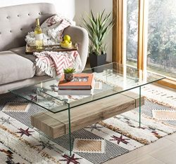 Safavieh COF7004A Home Collection Kayley Natural Rectangular Modern Glass Coffee Table