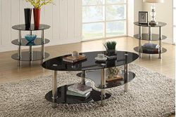 Poundex F3054 Alberta 3-Pc Glass Metal Tube Table Set, Multi