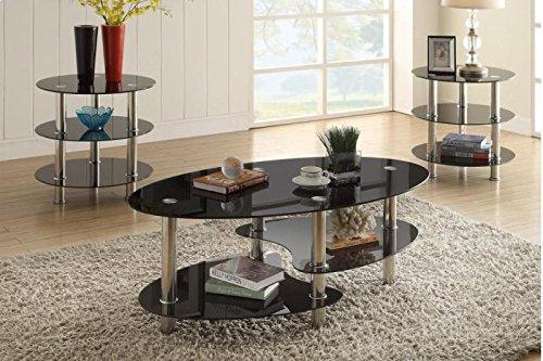 Poundex F3054 Alberta 3-Pc Glass Metal Tube Table Set, Multi