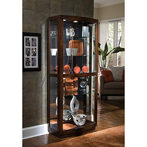 Sofaweb.com Brown Finish Transitional Front 2-Door Glass Curio Cabinet