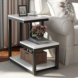 Tribesigns Modern End Tables, 3-Tier Chair Side Table Night Stand with Storage Shelf for Living  ...