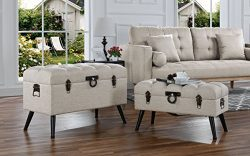 Sofamania 2-Piece Classic Tufted Linen Fabric Storage Chests/Accent Table/Bench (Beige)