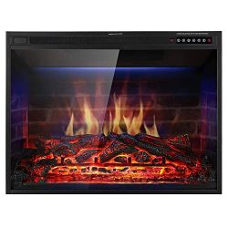 Xbeauty 33″ Electric Fireplace Insert Recessed in Wall Freestanding Heater w/Large Screen  ...