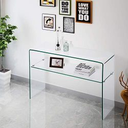Mecor Clear Glass Console Table with Shelf, Arc Rectangular Design Table Living Room Furniture