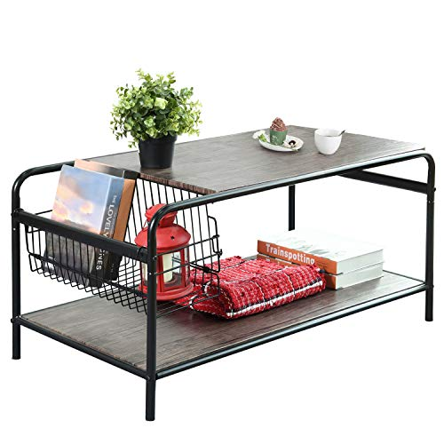 Rustic-Coffee Tables with Storage, Living-Room Coffee Table NETE11 Industrial Metal and Wood She ...