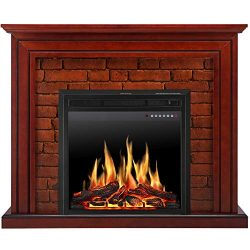 JAMFLY Electric Fireplace Mantel Package Traditional Brick Wall Design Heater with Remote Contro ...