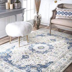 nuLOOM  Vintage Persian Verona Area Rug, 6′ 7″ x 9′, Blue