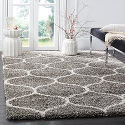 Safavieh Hudson Shag Collection SGH280B Grey and Ivory Moroccan Ogee Plush Area Rug (6′ x  ...