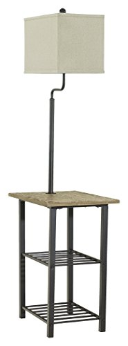 Ashley Furniture Signature Design – Shianne Metal Tray Lamp – Floor Lamp End Table & ...