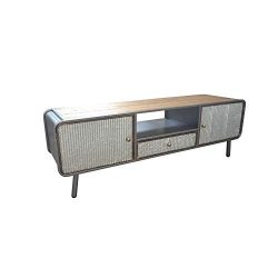 Herrera Media Console in Dark Gray with Hidden Storage, Open Shelf, And Solid Wood Top, by Artum ...