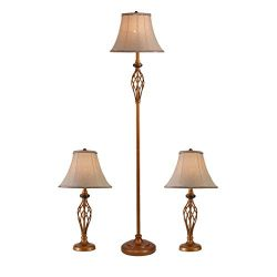 Three Pack Lamp Set (2 Table Lamps, 1 Floor Lamp), 3-Piece Floor and Table Lamp Set, Traditional ...