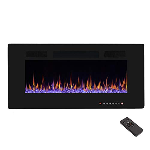 R.W.FLAME 36″ Recessed Electric Fireplace,Wall Mounted Linear Fireplace with Remote Contro ...