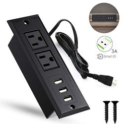 YaBland Desktop USB Power Strip Recessed Outlets Socket,Max 3A Charging Station, Conference Desk ...