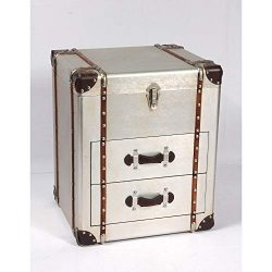 Duchess Accent Trunk in Sterling Silver with Aluminum Finish And Steamer Style Hardware, by Artu ...