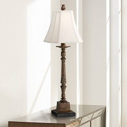 Thornewood Traditional Console Table Lamp Crackled Brown Candlestick Square Bell Shade for Livin ...