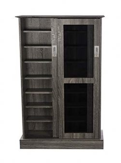 Atlantic Driffield Adjustable Media Cabinet – Tempered Glass Pane Styled Sliding Doors; St ...
