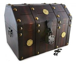 Well Pack Box Treasure Chest Pirate 13″x 9″x 9″ Lock Skeleton Keys Doubloon Ac ...