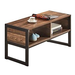 VECELO Coffee/Cocktail Table with Storage Shelf for for Living/Family Room, Sturdy Metal Frame,  ...