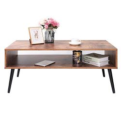 IWELL Mid-Century Coffee Table with Storage Shelf for Living Room, Cocktail Table, TV Table, Rec ...