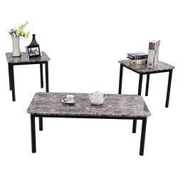 Tangkula 3 PC Coffee Table Set, Modern Faux Marble-Look Top End Table Set, Home Living Room Furn ...