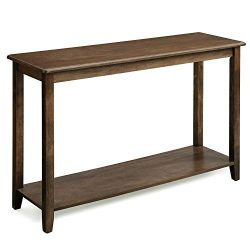 VASAGLE Large Console Table with Real Wood Legs, Simple Rustic Entry Table with Storage Shelf, S ...