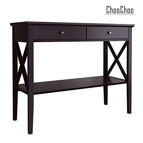 ChooChoo Console Console Table Classic X Design with 2 Drawers, Sofa Tables Narrow, Espresso Con ...