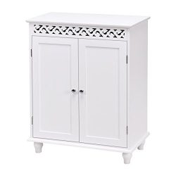 WATERJOY Storage Cabinet, Wooden Bathroom Cabinet with 2 Doors and 2 Shelves, Home Fashions Medi ...