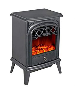 GMHome Free Standing Electric Fireplace Cute Heater Log Fuel Effect Realistic Flames, 1500W &#82 ...
