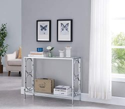 Chrome Finish Glass 2-Tier Contemporary Console Sofa Table with Lower Shelf and Hexagon Designs  ...