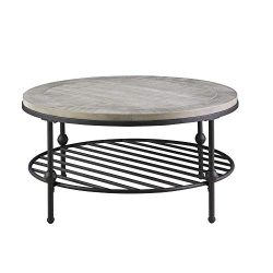 Willis Round Coffee Table in Antique Gray with Wood Top, Metal Base, And Open Storage Shelf, by  ...