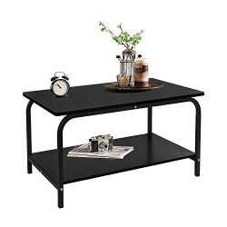 Mordern Large Coffee Table with Lower Storage Shelf for Living Room, 32″ x 20″ (Blac ...