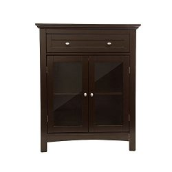 Glitzhome Wooden Free Standing Storage Cabinet with Double Doors and Drawer Espresso