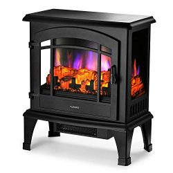 TURBRO Suburbs 23″ 1400W Electric Fireplace Stove, CSA Certified Freestanding Heater with  ...
