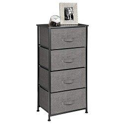 mDesign Vertical Dresser Storage Tower – Sturdy Steel Frame, Wood Top, Easy Pull Fabric Bi ...