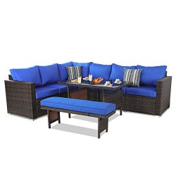 Patio Furniture Sets 5PCS Brown PE Rattan Sofa Set with Royal Blue Cushion Garden Rattan Seating ...