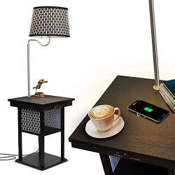 Brightech – Madison LED Floor lamp with Wireless Charging Pad & USB Port, Shelves & ...