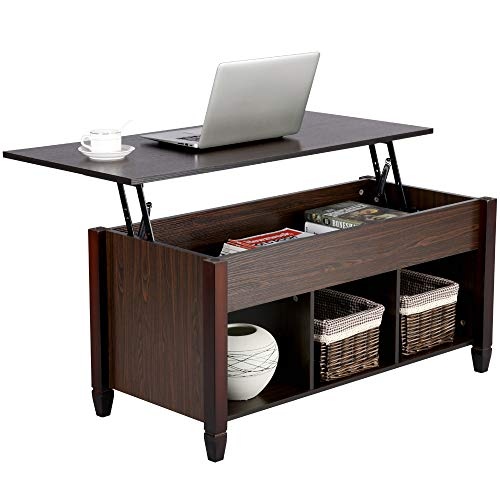 Yaheetech Lift Top Coffee Table with Hidden Storage Drawers for Home Living Room Furniture