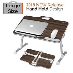 Kavalan [Large Size] Portable Laptop Table with Handle, Height & Angle Adjustable Sit and St ...