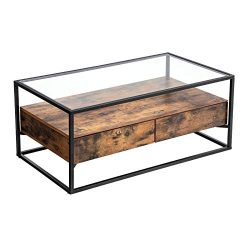 VASAGLE Industrial Coffee Table, Tempered Glass Top with 2 Drawers and Rustic Shelf, Decoration  ...