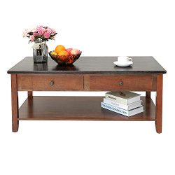 IWELL Coffee Table with 2 Drawers and Storage Shelf for Living Room, Cocktail Table Made of Soli ...