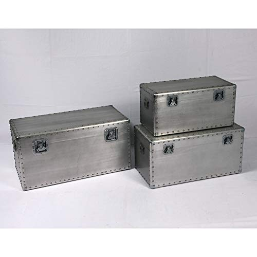 Armette Rectangle Accent Trunk Set in Antique Silver with Three Trunks, Aviation Style Latches,  ...