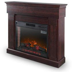 DELLA 28″ Freestanding Mantel Heater Push Button Control Electric Fireplace Heater Stove F ...