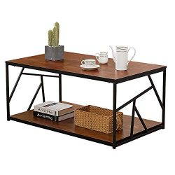 VECELO Modern Coffee Tea Table,Double Storage Space Wooden Side Table/End Table with Black Metal ...