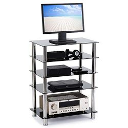 Rfiver 5-Tier Black Glass Audio Video Tower for TV, Xbox, Gaming Consoles, Media Component,Strea ...