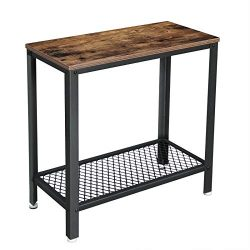 VASAGLE Industrial Side Table, 2-Tier End Table With Mesh Shelf, Sturdy and Easy Assembly, Wood  ...