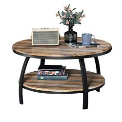 GreenForest Round Coffee Table for Living Room Farmhouse Cocktail Table with Storage Shelving