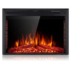 SUNLEI 39'' Electric Fireplace Insert, Freestanding& Recessed Built in Fireplace Electric He ...