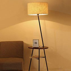 Wellmet Modern Tripod Floor Lamp with Wooden Shelves, Wood Floor Light with Table and USB Ports, ...