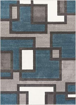 "Uptown Squares Blue Grey Modern Geometric Comfy Casual Hand Carved 9×13 (9'3"" x ..."